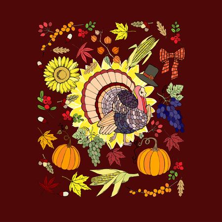 cuerno de la abundancia: Thanksgiving day Vectores