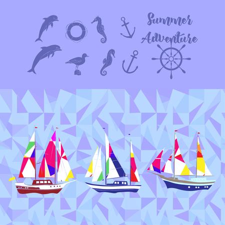 Sea with ships illustration. Illustration