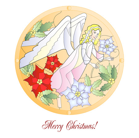 Card with Christmas Vitrail with Angel