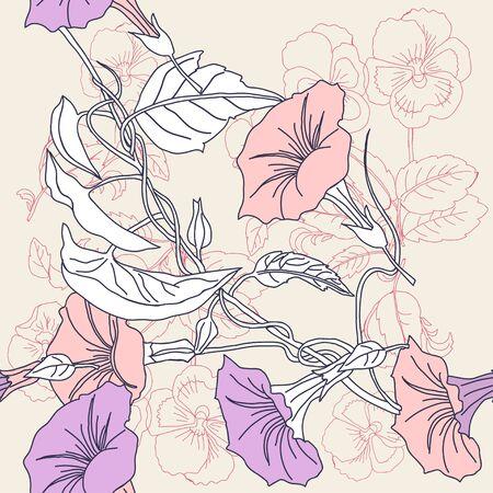Border less pattern of pansies and pink bindweed. Иллюстрация