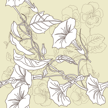 Border less pattern of pansies and bindweed in black and white illustration. Imagens - 90231027