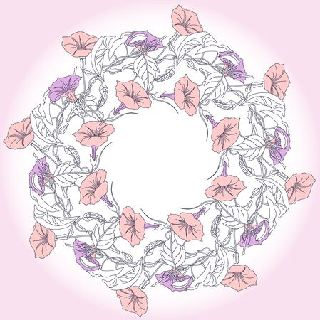 Wreath with blue pink bindweed illustration.