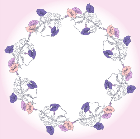 Wreath with blue and pink bindweed illustration. Imagens - 90231030
