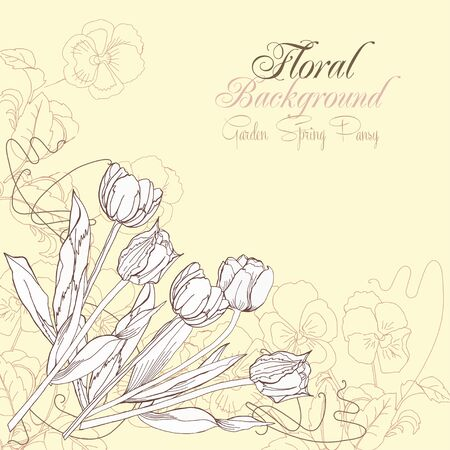 Floral Background with pansies and tulips