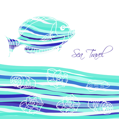 Sea Background with blue fish