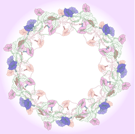 Wreath with pink and blue bindweed.