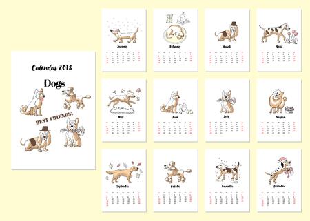 Calendar 2018 Dogs Sketches.Hand drawn  animals vector illustration