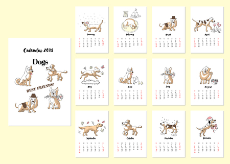 Calendar 2018 Dogs Sketches.Hand drawn  animals vector illustration