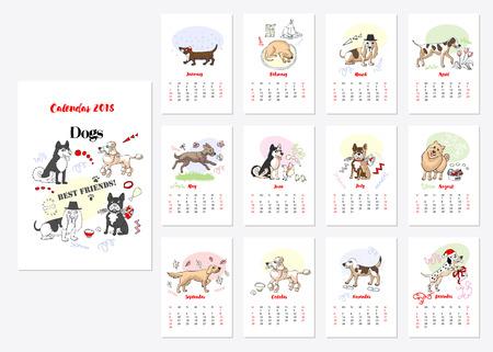 Calendar 2018 Dogs Sketches. Hand drawn  animals vector illustration