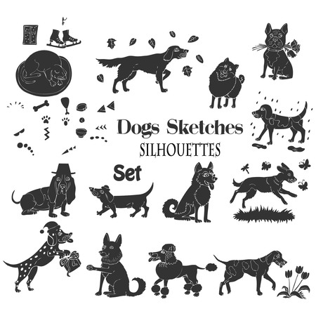 Funny dogs silhouettes sketches. Hand drawn animals vector illustration.