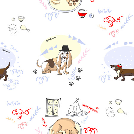 Seamless Pattern with Dogs. Hand drawn  animals sketches. Vector Illustration Illustration