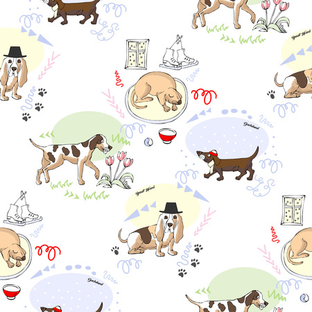 Seamless pattern with dogs. Hand drawn animals sketches. Vector Illustration. Vettoriali