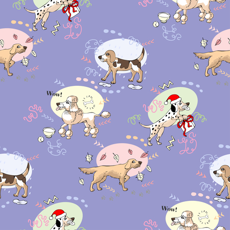 Seamless Pattern with Dogs Illustration