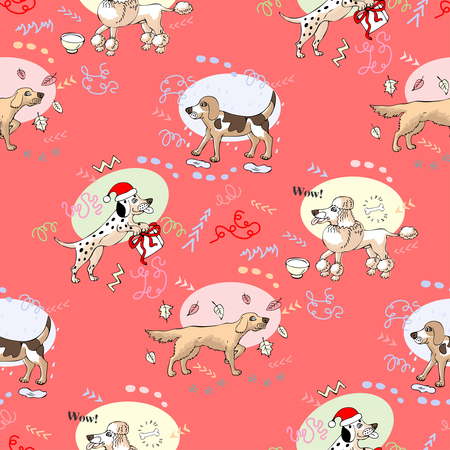 Seamless pattern with  irish setter, beagle, dalmatian and poodle dogs. Hand drawn animals sketches. Vector Illustration