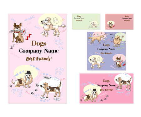 Set of template corporate identity with dogs. Background for printed media design. Banner, business card, invitation, greeting card, postcard. Vector Illustration