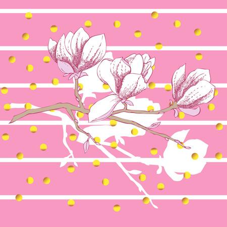 Magnolia, spring flowers illustration on white background. 向量圖像