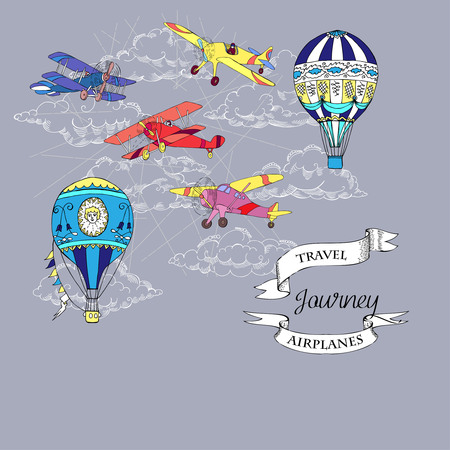 Background with airplanes and hot air balloons on grey backdrop. Vettoriali