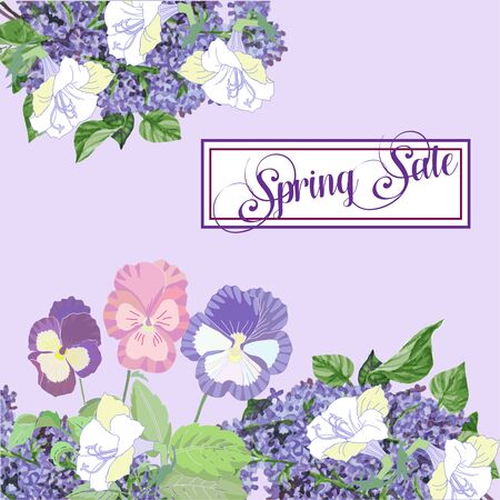 Spring sale lettering with white peonies and lilac background
