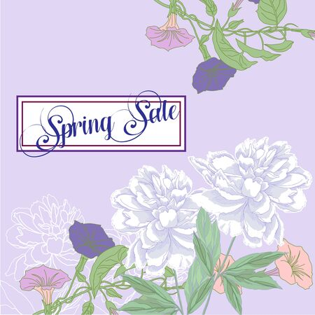 Spring sale background with peony flowers