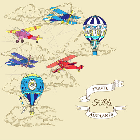 Background with Airplanes and Hot Air Balloons.