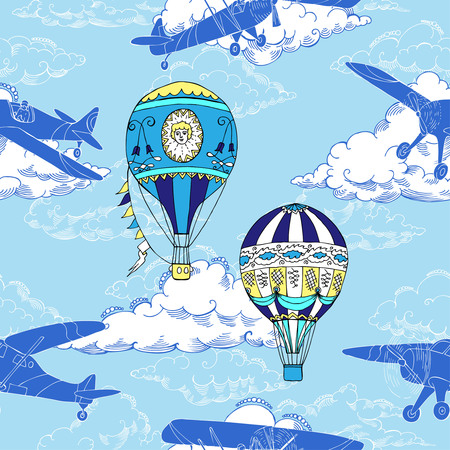 Seamless pattern with air balloons and airplanes