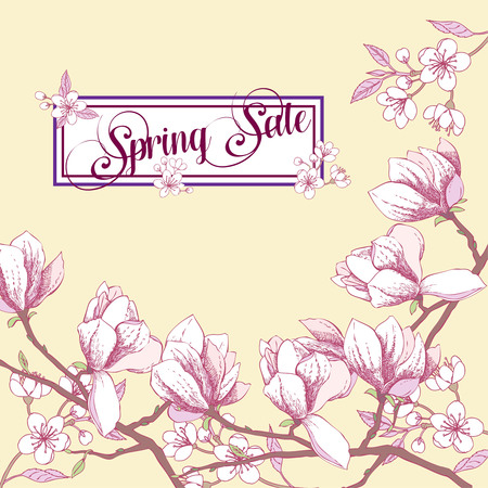 Background with magnolia and cherry blossom tree 일러스트