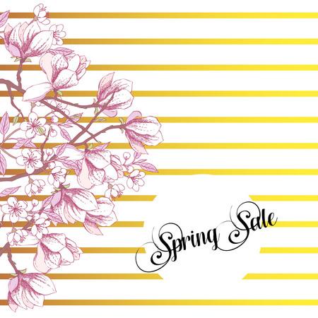 Spring Sakura and Magnolia Background