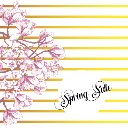Spring Sakura and Magnolia Background
