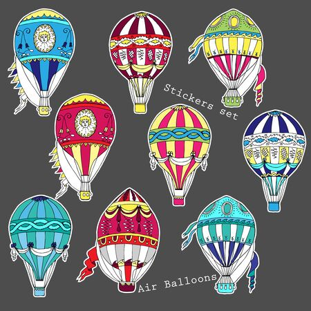Colored air balloons stickers set Stock Illustratie