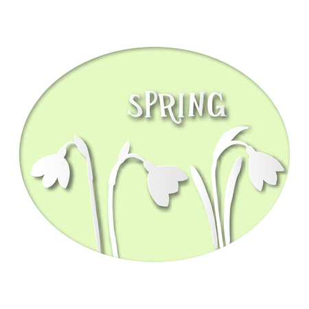 Paper Card with Spring Snowdrops.