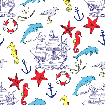 Nautical seamless pattern with  sailing vessels Illustration