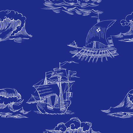 Nautical seamless pattern with sailing vesselsand and sea Ilustração
