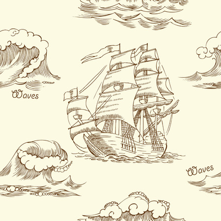 Nautical seamless pattern with sailing vessels and and sea. Hand drawn elements for summer holidays.