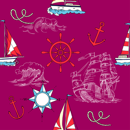 Nautical seamless pattern with sailing vesselsand and sea Illustration