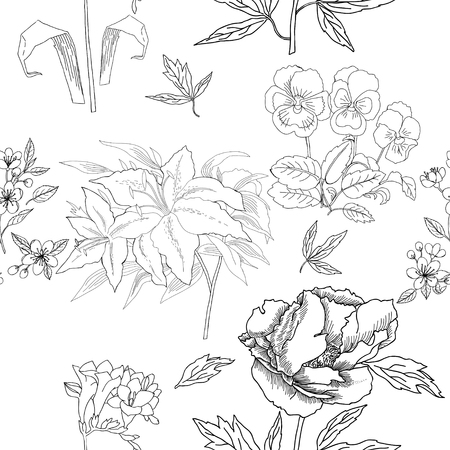 Seamless Pattern with Flowers Sketches. Hand drawn botanical el Illustration