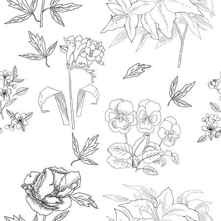 Seamless Pattern with Flowers Sketches. Hand drawn botanical el Vectores