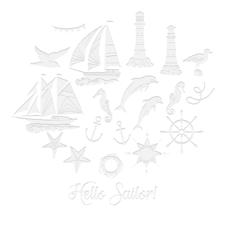 Paper nautical background with sailing vessels