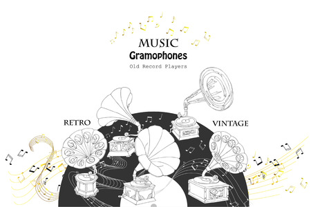 Background with Gramophones  Sketches