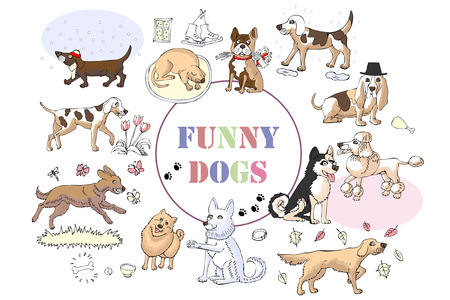 Funny Dogs Sketches. Hand drawn illustration