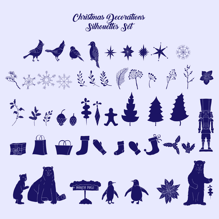 Christmas decoration silhouettes set
