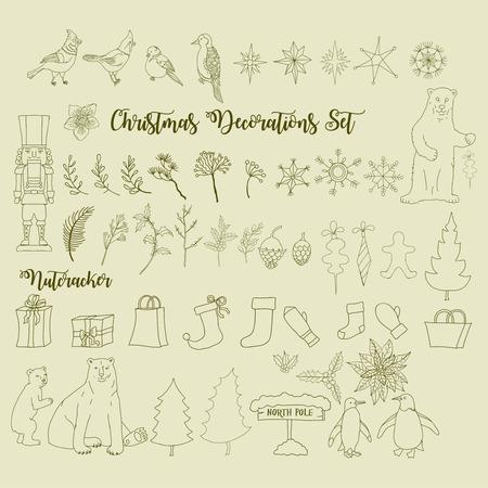 Christmas decoration set with Nutcracker and  Christmas tree Stock fotó - 107651818