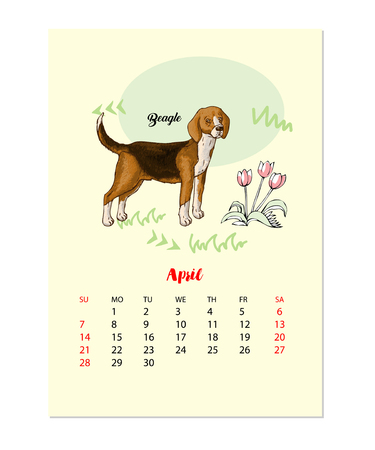 Calendar 2019 Dog sketch Illustration