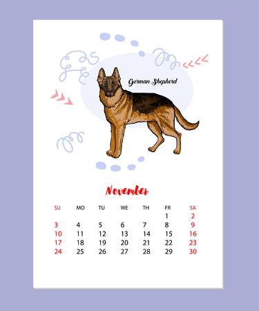 Calendar 2019 Dog sketch Illustration