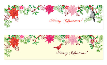 Christmas Banners Set with Christmas Decorations Vectores