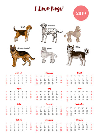 Dog Calendar 2019 Dogs Of Different Breeds Sketches Stock Photo