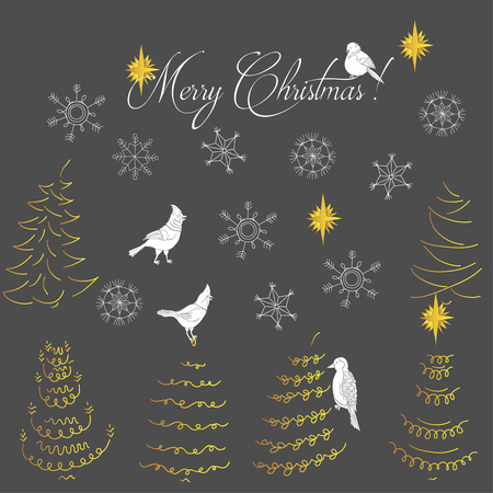 Christmas Background with Birds, Christmas Trees and Snowflakes. Hand drawn sketches. Vector Illustration