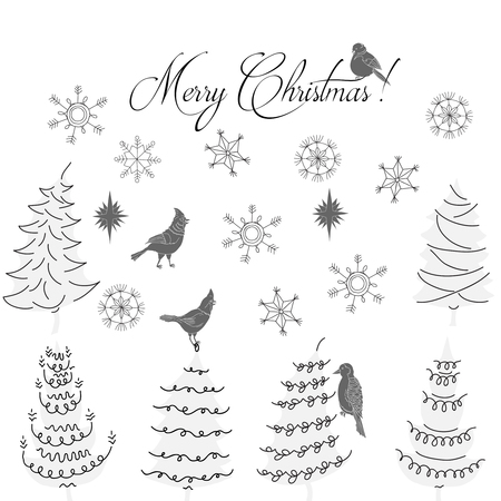Christmas Background with Birds, Christmas Trees and Snowflakes. Hand drawn sketches. Vector Illustration Imagens - 127076069