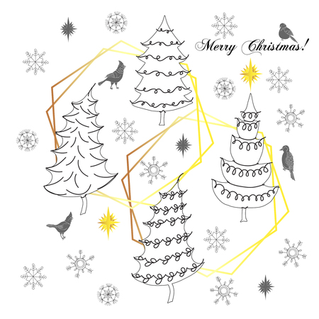 Christmas Background with Birds, Christmas Trees and Snowflakes. Hand drawn sketches. Vector Illustration Imagens - 127076070