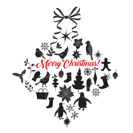 Christmas Background with Silhouettes, Poinsettia and Toys Vector Illustration