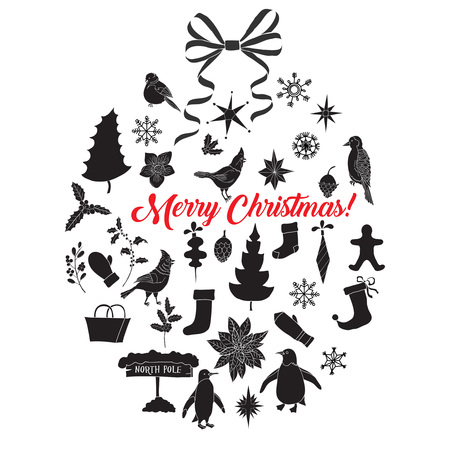 Christmas Background with Silhouettes,  Poinsettia and Toys
